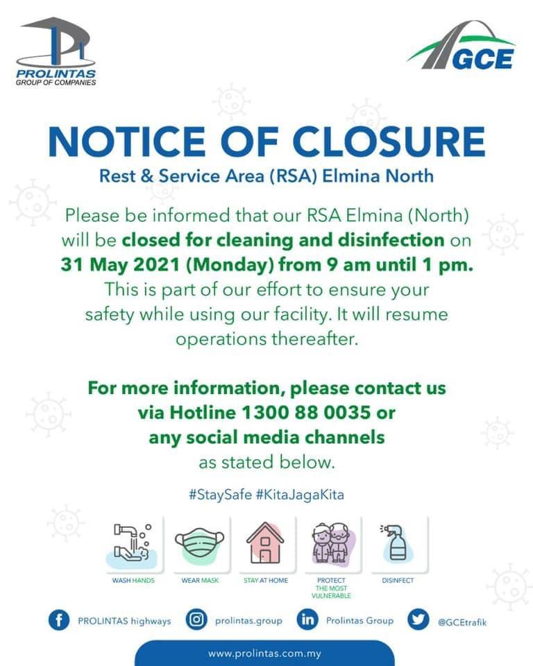 Notice of Closure – Rest & Service Area Elmina (North)