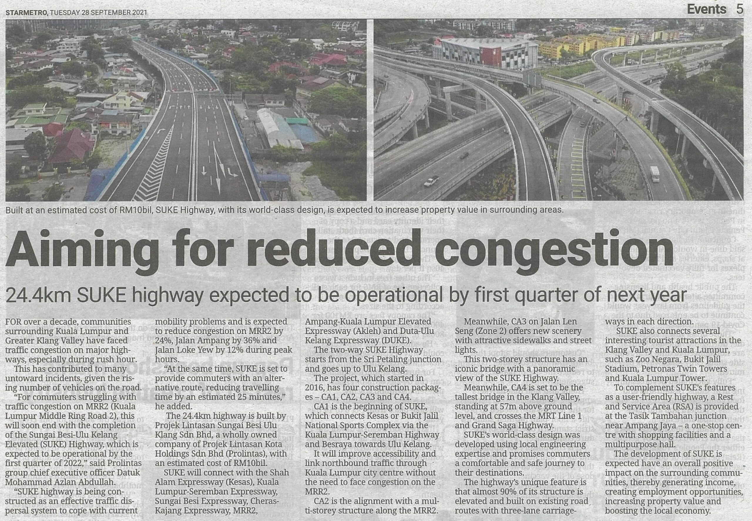 SUKE aiming for reduced congestion